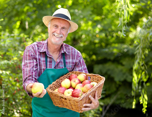 Gardener with straw hat presenting apple