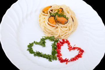Italian First Course - Spaghetti And Mussels