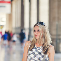 Beautiful Girl Is Waiting at the Railway Terminal