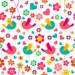Spring bird and flower pattern