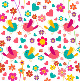 Spring bird and flower pattern