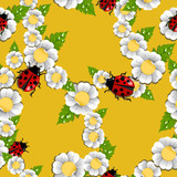 Spring flowers and ladybug pattern
