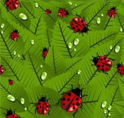 Spring leaves and ladybug pattern