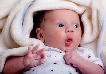 ritratto di neonato sotto le coperte