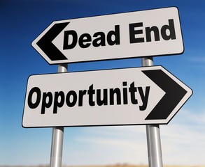 Dead End - Opportunity Two-way road sign