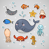 Sticker with sea animals