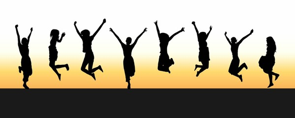 8 jumping silhouettes; morning summer sky background