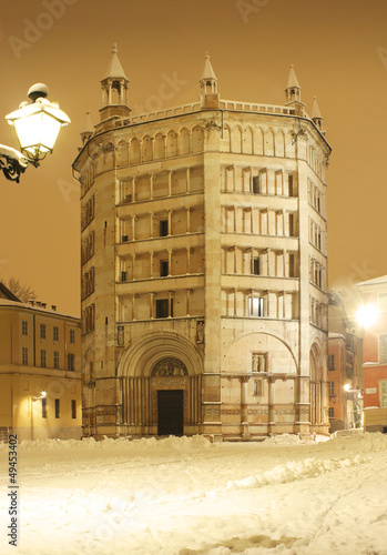 Baptistery at night with snow