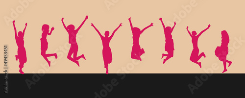 8 jumping silhouettes isolated on light pink background