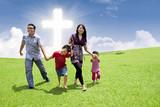 Asian family stroll in Easter