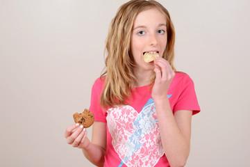 Child eating junk food