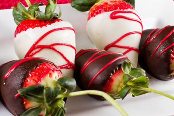 arrangement of chocolate covered strawberries