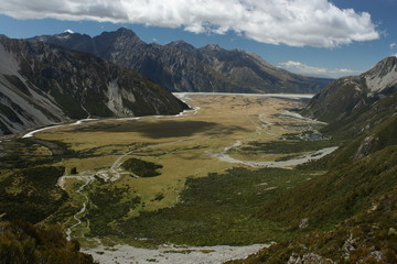 aerial view of glacial valley in Mount Cook National Park