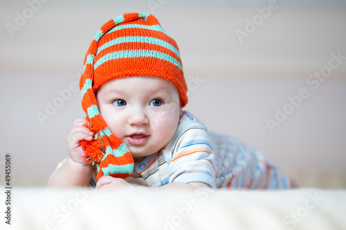 cute crawling baby boy indoors