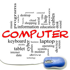 Computer Word Cloud Concept with a Blue Mouse