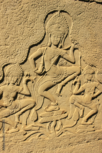 Apsara dancers wall carving, Bayon temple, Cambodia