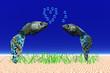 bunte Fische mit Herz