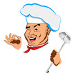 Happy joyful Chef and big spoon.Face.Restaurant business. Vector
