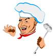 Happy joyful Chef and big spoon.Face.Restaurant business. Vector