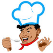 Chef and spoon.Face.Restaurant business. Vector