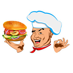 Happy joyful Chef and big hamburger
