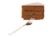 Ein Stück Sachertorte mit Kuchengabel