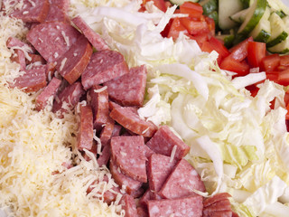 salad from vegetables, кобасы and cheese