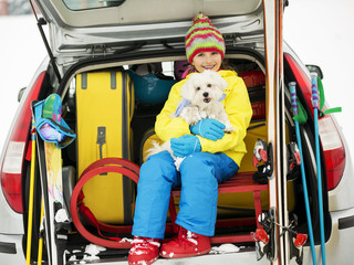 Skiing - girl ready for the travel for winter vacation