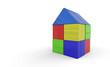 Buntes Haus aus Bauklötzen isoliert 3