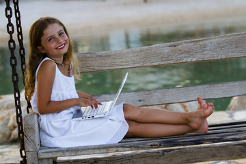 Girl with netbook