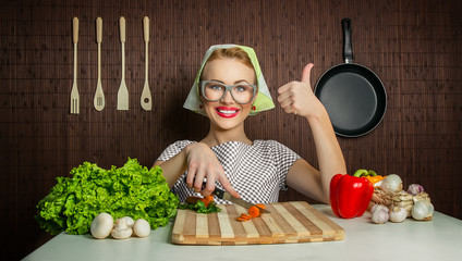 Woman cook gesturing thumb up