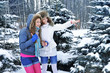 Young beautiful girls are in the winter forest