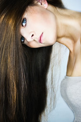beautiful woman with long hair overhead