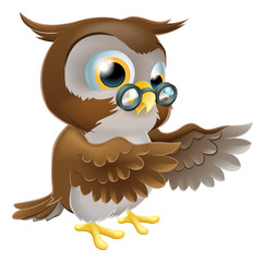 Pointing Cute Cartoon Owl