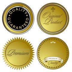 goldene Gütesiegel und Embleme