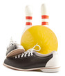 Ball, bowling shoes and bowling pin