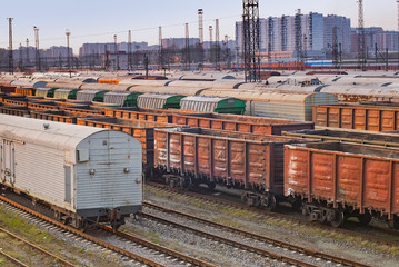 railroad freight wagons in freight yards