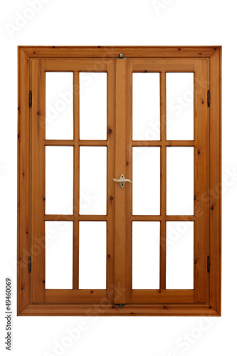 Wooden window closed view from inside isolated on white