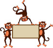 monkey's cartoon with blank board