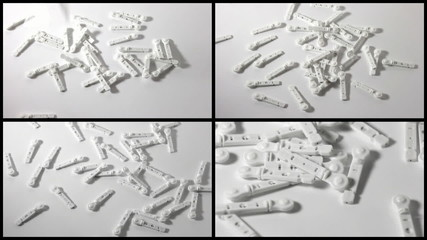 Set: Lancets are scattered on a surface