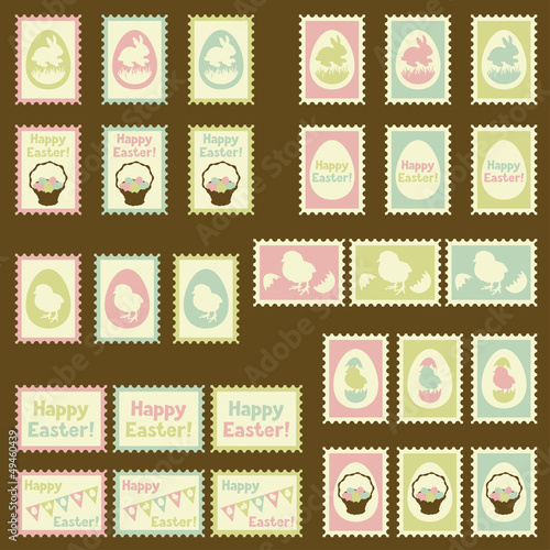 Happy Easter postage retro set.