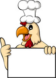 funny cartoon chicken with blank sign