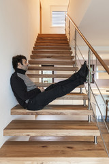 man sitting on the stairs