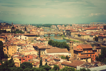 Cityscape of Florence, Italy. View of the city on top