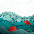 Vector Illustration of an Ornamental Ocean Background