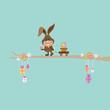 Bunny On Tree Pulling Handcart Easter Basket Retro