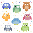 Vector Illustration of Abstract Colorful Owls