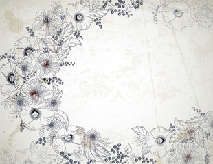 Vintage background with hand drawn flowers branches