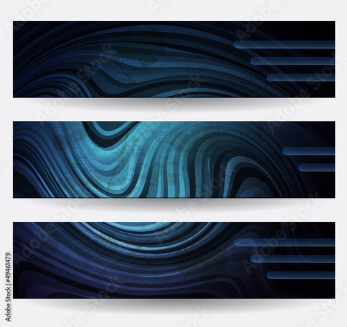 Three headers with blue abstract lines