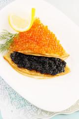 flapjack with caviar and lemon
